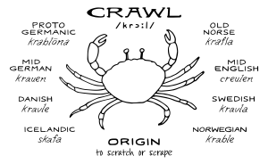 Crab and text: Drawing of «crawl» by Outspoken Images by Marie Warner Preston