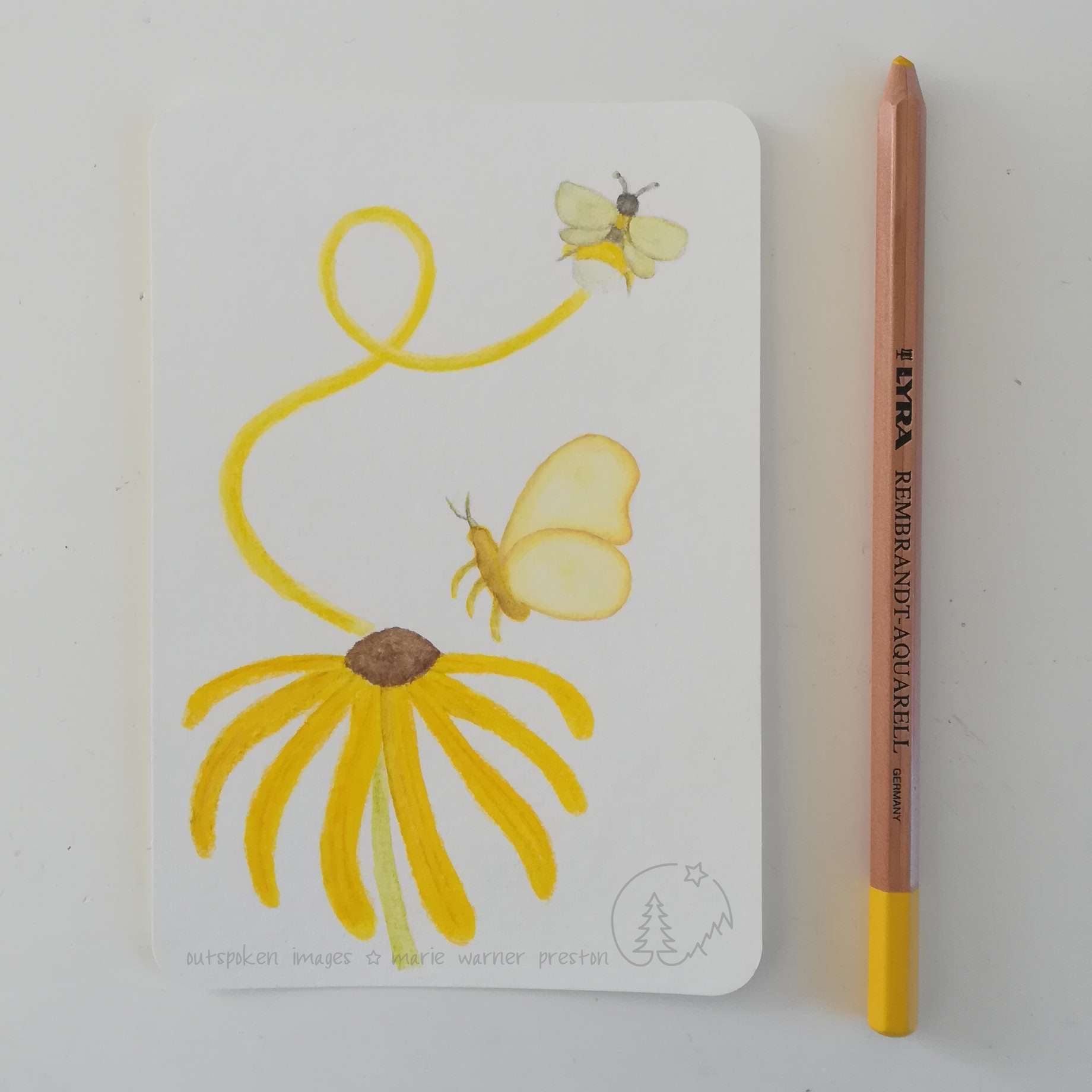 «Yellow Joy». Yellow flower with yellow butterfly and yellow swoop leading up to a yellow bee. ©2021 Outspoken Images by Marie Warner Preston