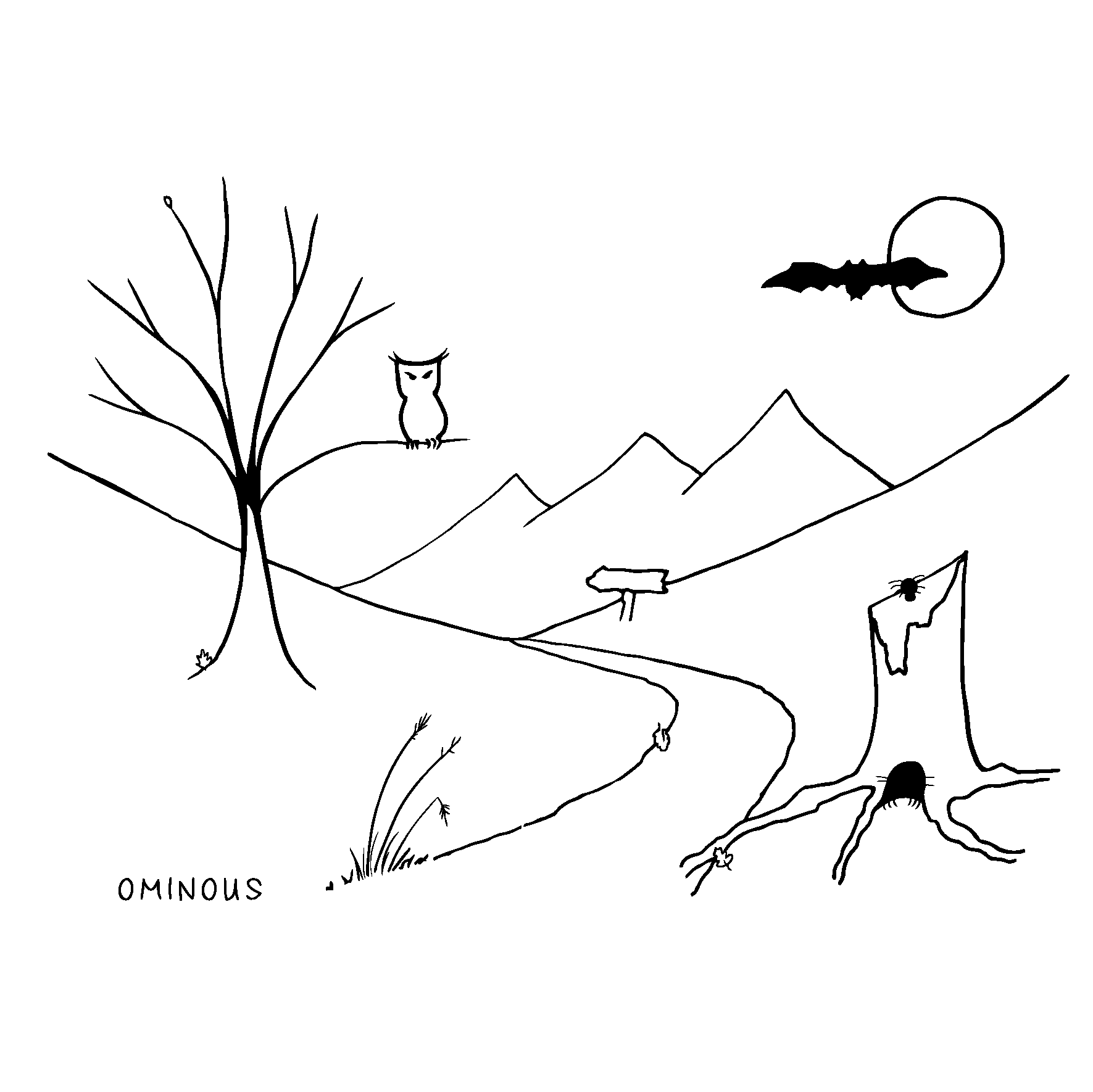 owl on tree, bat and moon, mountains, signpost, tree stump with spider and hidden rodent, path with leaves and grass