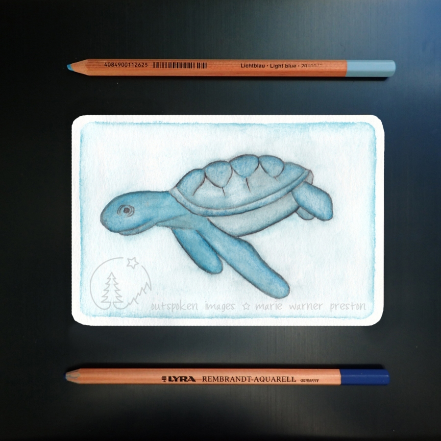 Blue watercolour painting of Hawksbill sea turtle on blue background with two blue watercolour pencils. ©2021 Outspoken Images by Marie Warner Preston
