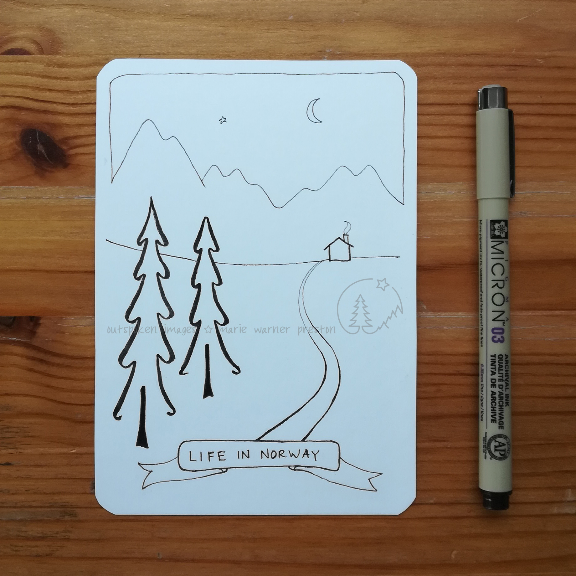 pen drawing of Life in Norway: pine trees, path, cabin, mountains, moon, star. ©2021 Outspoken Images by Marie Warner Preston