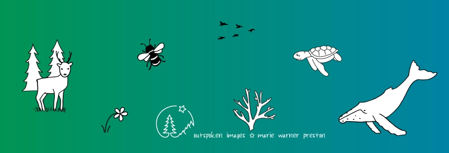 Black and white animal drawings on green blue background ©2021 Outspoken Images by Marie Warner Preston