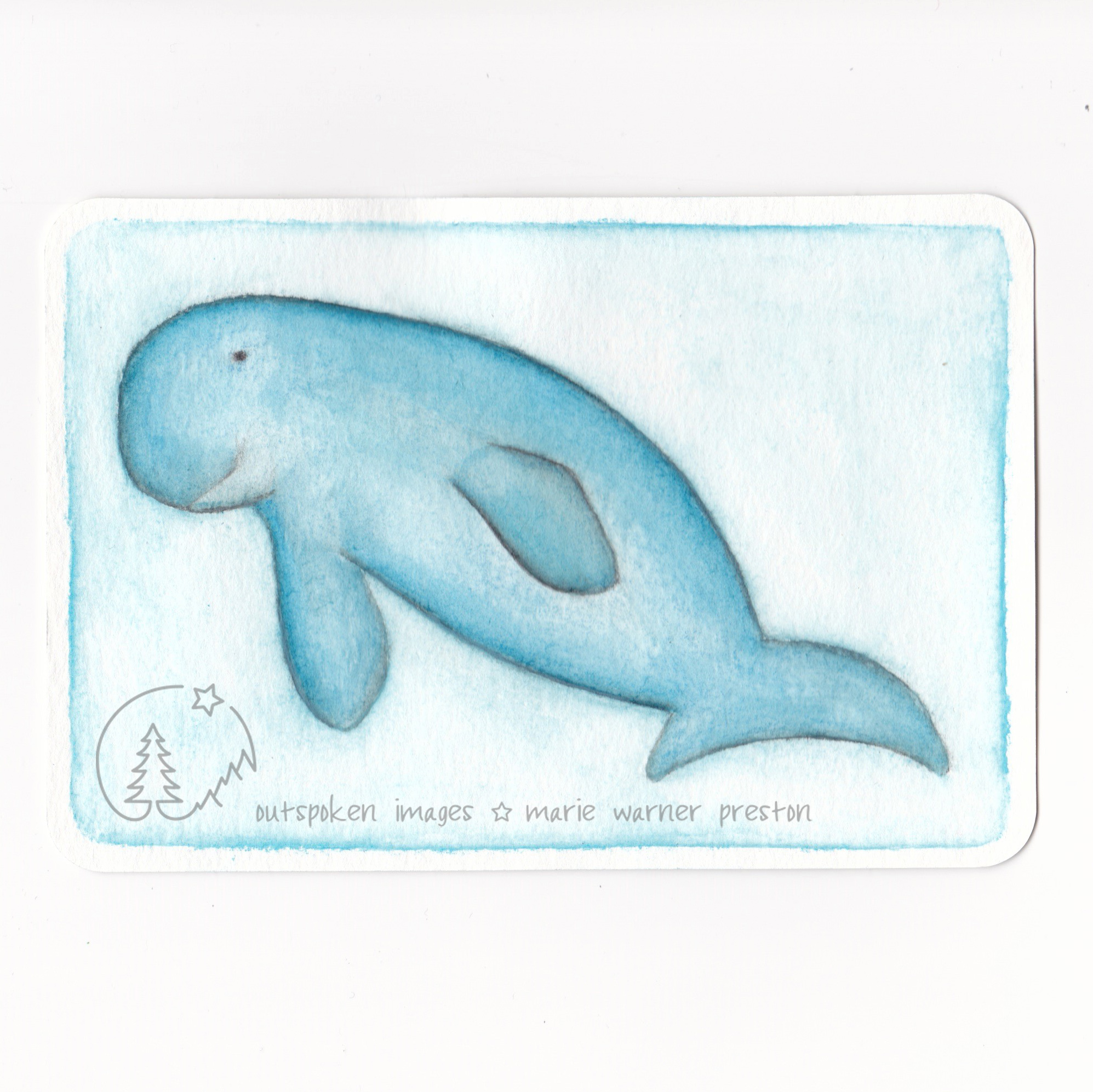Dugong (watercolour) ©2021 Outspoken Images by Marie Warner Preston