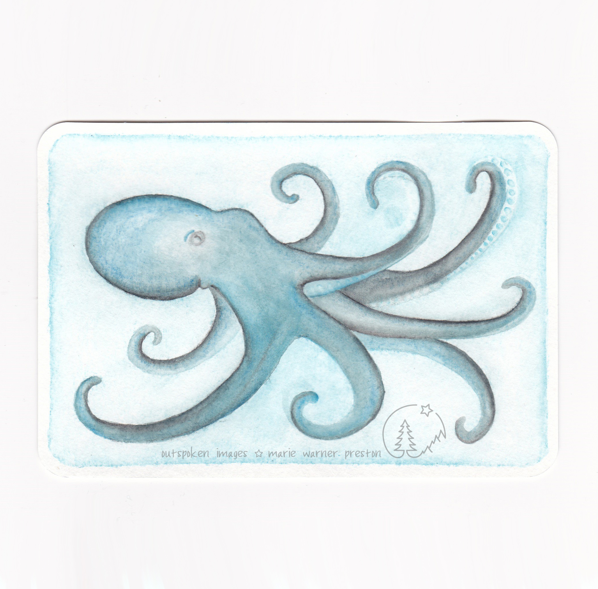 Blue octopus painting ©2021 Outspoken Image by Marie Warner Preston