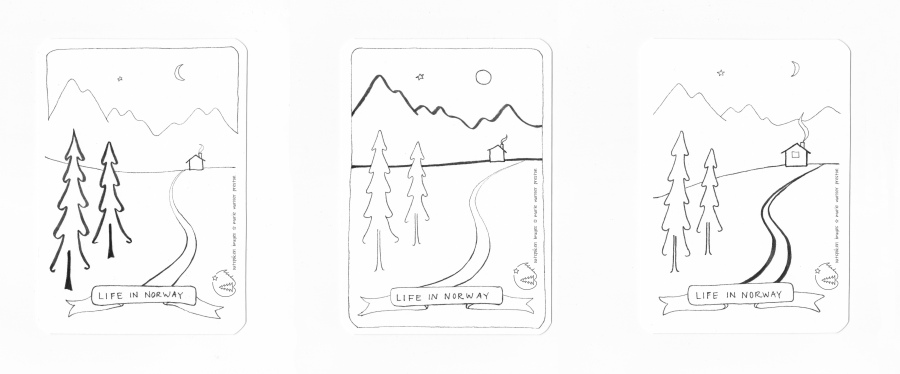 Black and white pen drawing: trees, path, cabin, mountains, stars, moon, Life in Norway. ©2021 Outspoken Images by Marie Warner Preston