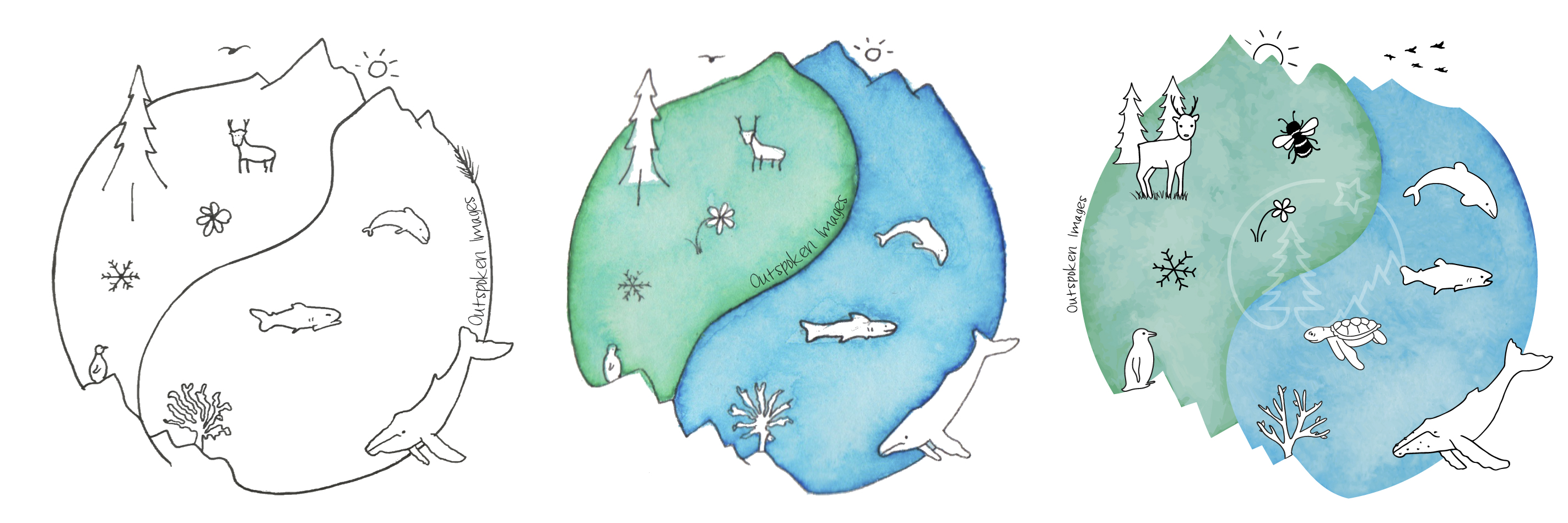 Harmony, a watercolour illustration: Globe with animals and plants ©2021 Outspoken Images by Marie Warner Preston