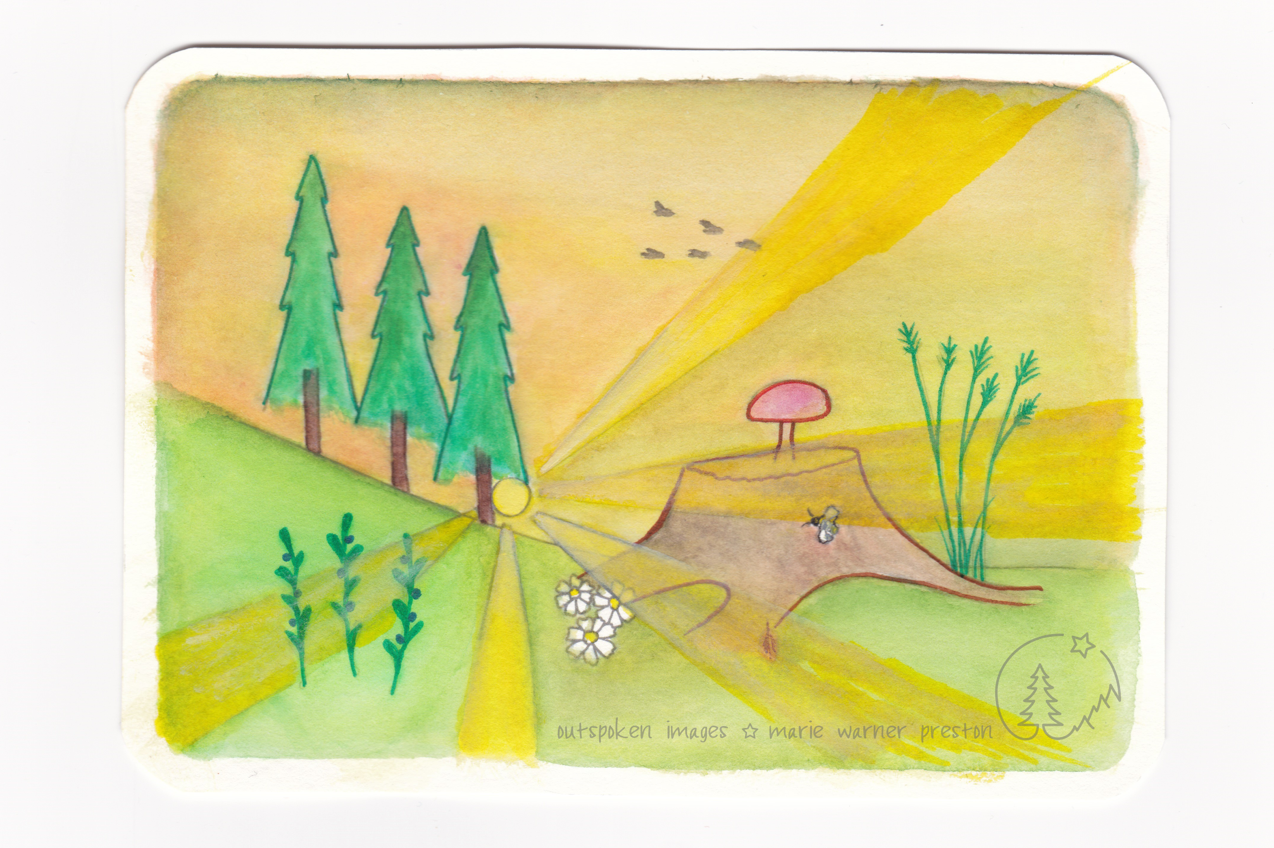 Watercolour painting of green trees, grasses, and blueberry plants. Red mushroom, brown tree stump, yellow sunrays. Black and white birds, bees, flowers. ©2021 Outspoken Images by Marie Warner Preston